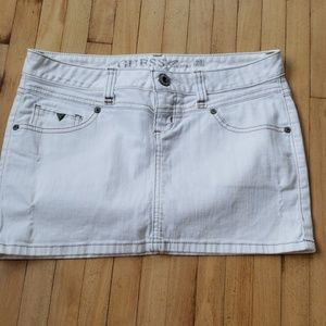 Guess white jean skirt